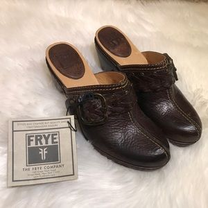 "Brown Frye Heeled ""Candice"" Woven Clogs"